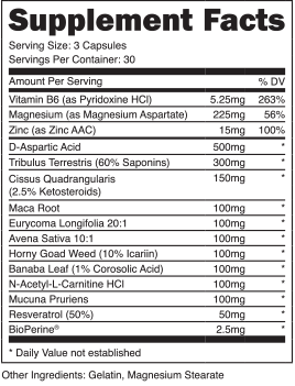 Everlasting T Ingredients Label