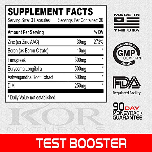 Kor Test Booster Ingredients Label